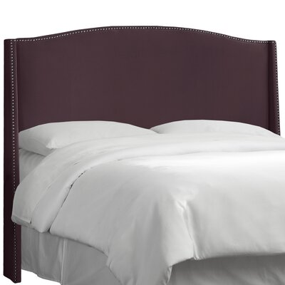 Dowland Nail Button Upholstered Wingback Headboard Upholstery: Premier Purple, Size: King