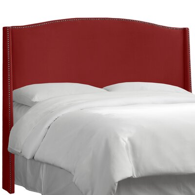 Dowland Nail Button Upholstered Wingback Headboard Upholstery: Premier Red, Size: King