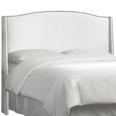 Premier Nail Button Upholstered Wingback Headboard Size: Queen, Upholstery: Premier White