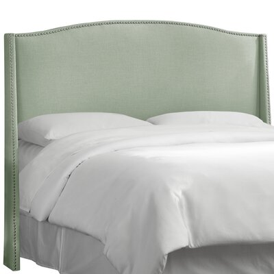 Deanery Linen Nail Button Upholstered Wingback Headboard Size: Queen, Upholstery: Linen Swedish Blue