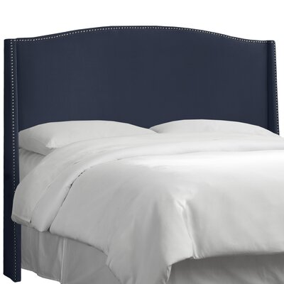 Dowland Nail Button Upholstered Wingback Headboard Upholstery: Premier Lazuli Blue, Size: California King