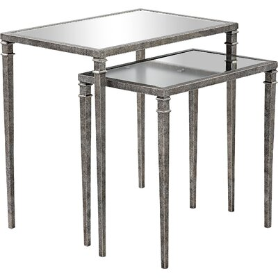 Bowlin 2 Piece Mirrored Nesting Table Finish: Antique Silver
