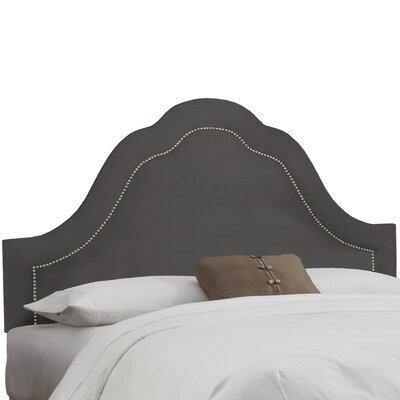 Premier Inset Nail Button Arch Upholstered Panel Headboard Color: Charcoal, Size: Queen