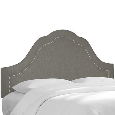 Inset Nail Button Upholstered Panel Headboard Color: Gray, Size: California King