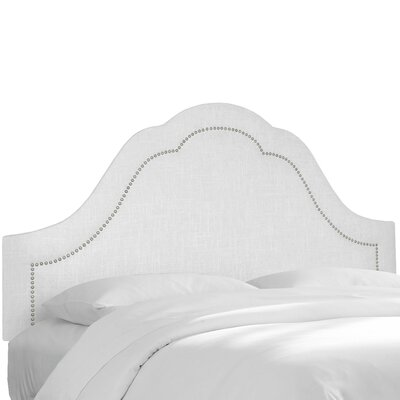 Dormody Nail Button Upholstered Panel Headboard Size: King, Color: White