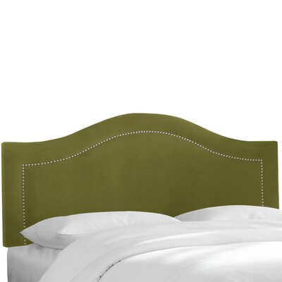 Alaraph Velvet Inset Nail Button Upholstered Panel Headboard Upholstery: Applegreen, Size: California King