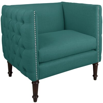 Lyric Nail Button Armchair Upholstery: Linen Laguna, Nailhead Detail: Pewter Nailhead
