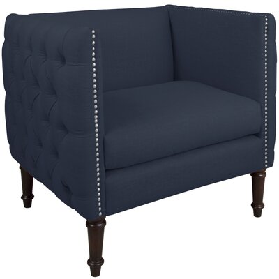 Lyric Nail Button Armchair Upholstery: Linen Navy, Nailhead Detail: Pewter Nailhead
