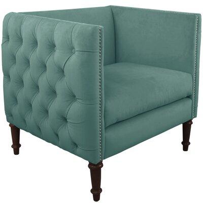 Lyric Nail Button Armchair Upholstery: Velvet Caribbean, Nailhead Detail: Pewter Nailhead