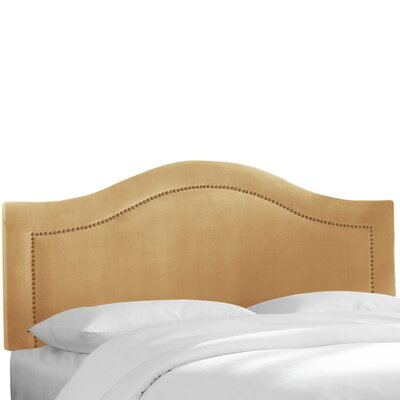 Alaraph Velvet Inset Nail Button Upholstered Panel Headboard Size: Twin, Upholstery: Honey