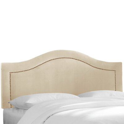 Velvet Inset Nail Button Upholstered Panel Headboard Upholstery: Pearl, Size: Twin