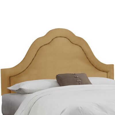 Premier Inset Nail Button Arch Upholstered Panel Headboard Color: Saddle, Size: King