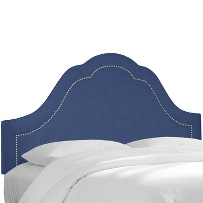 Denim Inset Nail Button Arch Upholstered Panel Headboard Size: California King