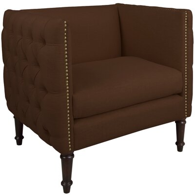 Lyric Nail Button Armchair Upholstery: Linen Chocolate, Nailhead Detail: Brass Nailhead