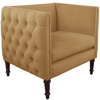 Lyric Nail Button Armchair Upholstery: Velvet Honey, Nailhead Detail: Brass Nailhead