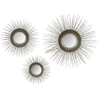 3 Piece Sunburst Triptych Mirror Set