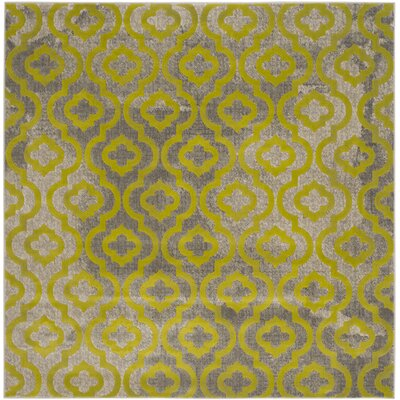 Krenwik Light Gray/Green Area Rug Rug Size: Square 67