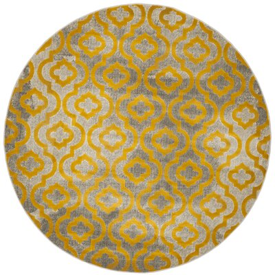 Manorhaven Light Gray/Yellow Area Rug Rug Size: Round 67