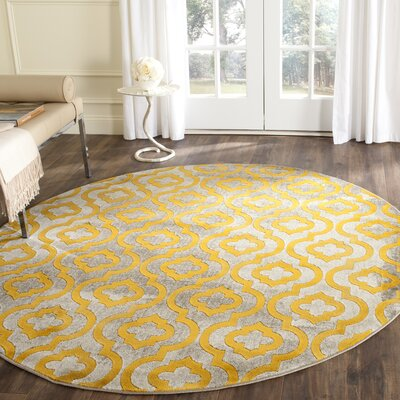 Manorhaven Light Gray/Yellow Area Rug Rug Size: 52 x 76