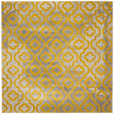 Manorhaven Light Gray/Yellow Area Rug Rug Size: Square 67