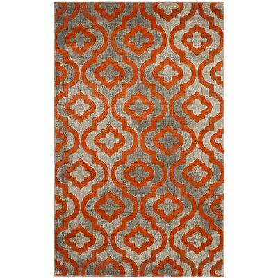 House of Hampton Krenwik Light Gray/Orange Area Rug