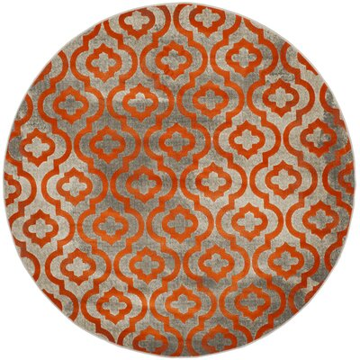 Manorhaven Light Gray/Orange Area Rug Rug Size: 10 x 14