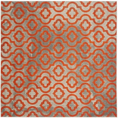 Manorhaven Light Gray/Orange Area Rug Rug Size: Square 67