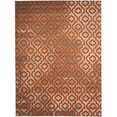 Krenwik Light Gray/Orange Area Rug Rug Size: 8'2