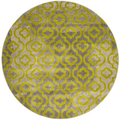 Manorhaven Light Gray/Green Area Rug Rug Size: Round 67