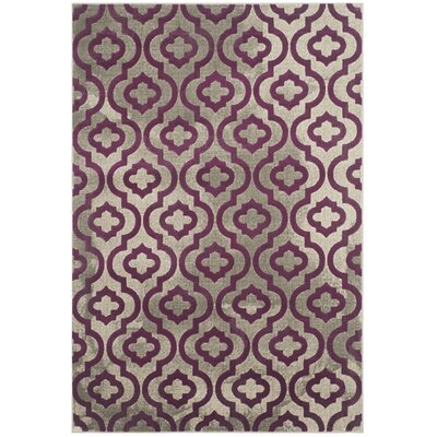 Manorhaven Light Gray/Purple Area Rug Rug Size: 52 x 76
