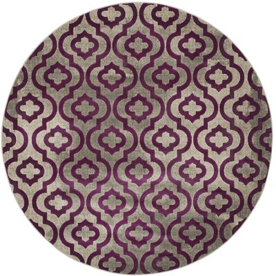 Manorhaven Light Gray/Purple Area Rug Rug Size: Round 67