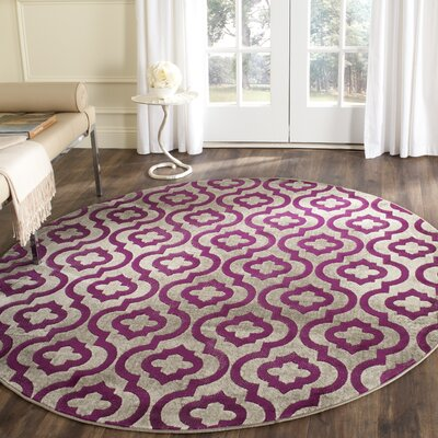 Manorhaven Light Gray/Purple Area Rug Rug Size: Rectangle 82 x 11