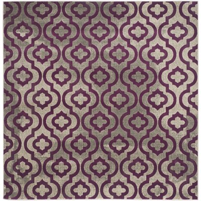 Manorhaven Light Gray/Purple Area Rug Rug Size: Square 67