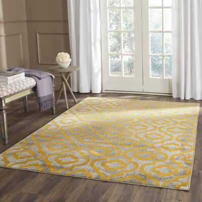 Manorhaven Light Gray/Yellow Area Rug Rug Size: Rectangle 9 x 12