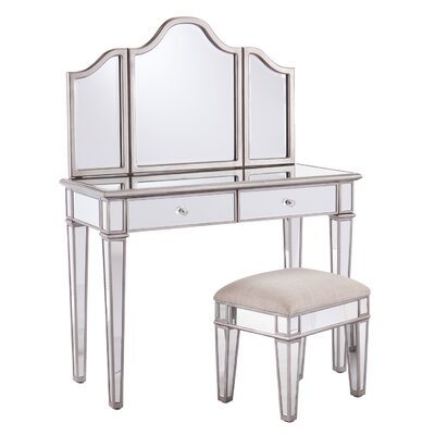 2-Piece Kaila Mirrored Vanity & Stool Set