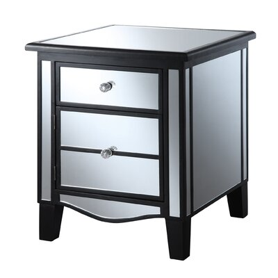 Halstead Mirrored End Table Finish: Black