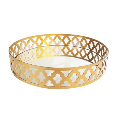 Ambrosia Mirror Serving Tray Color: Gold