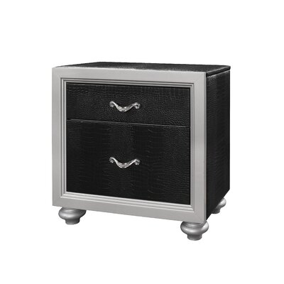 Charee 2 Drawer Nightstand Finish: Black/Silver