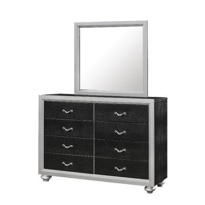 Hopper 8 Drawer Dresser Finish: Black/Silver