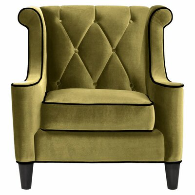 Carressa Wingback Armchair Upholstery: Green