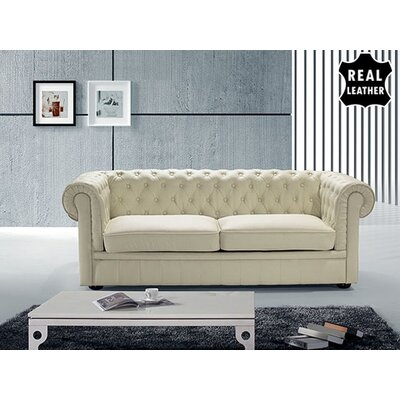 Russell Leather Loveseat Upholstery: Beige