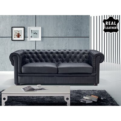 Russell Leather Loveseat Upholstery: Black