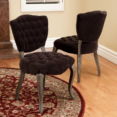 Therrien Tufted Side Chair Upholstery: Dark Chocolate