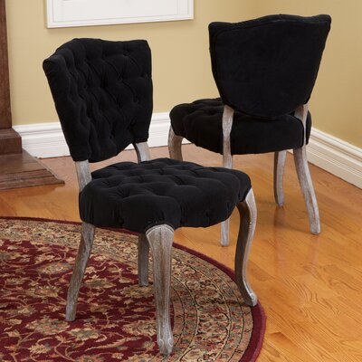 Daniel Tufted Side Chair Upholstery: Black
