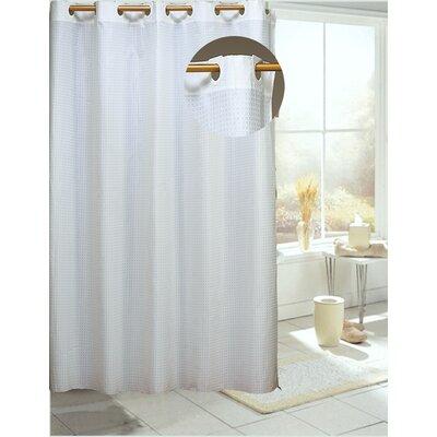 Devereau Check Shower Curtain Color: White