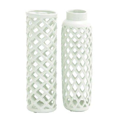 House of Hampton Vivien 2 Piece Ceramic Vase Set