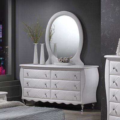 Ridgeway 6 Drawer Double Dresser Color: White