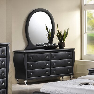 Rosanna 6 Drawer Dresser Color: Black
