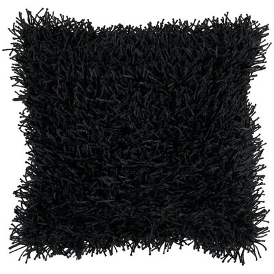 Dale Shag Throw Pillow Size: 18, Color: Jet Black, Filler: Down