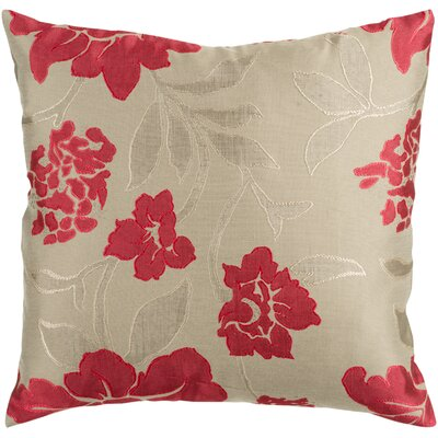 Beatrix Wild Throw Pillow Size: 18 H x 18 W x 4 D, Color: Beige/Red, Filler: Down